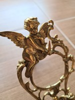 Előkelő, Szárnyas angyalos antik réz zsebóra -, vagy ékszertartó