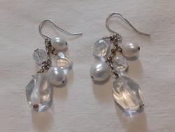 Ezüst fülbevaló (925) tenyésztett gyöngy, és hegyi kristály díszítéssel