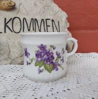 Zsolnay porcelán ritka formájú  Ibolyás bögre nosztalgia  falusi paraszti dekoráció  Gyűjtői darab