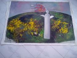BAKÁNYI GYULA FESTMÉNY 90 x 130 cm