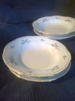 Zsolnay : Kék barackvirágos lapos és mély tányér, 2db garnitúra