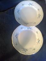 Zsolnay: kék barackvirágos lapos tányér, 2 db