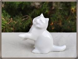 Extrém ritka pajzspecsétes Zsolnay porcelán fehér macska