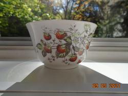 Antik szamócás vastagfalú csésze