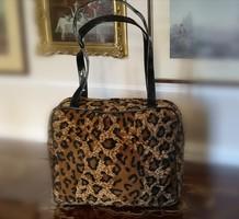 Ragazza műszőrme retikül, leopárd mintás ridikül, táska, 30 x 25 cm