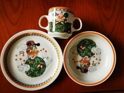 3 db-os ritka Alföldi porcelán bohóc mintás gyerek étkészlet