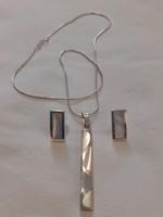 Elegáns gyöngyházbetétes ezüst ékszerszett (925)