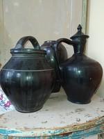 Nagyméretű fekete cserép korsó, váza, köcsög