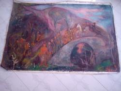 BAKÁNYI GYULA FESTMÉNY 100 x 160 cm