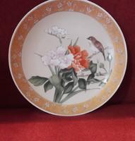 Madárkás, virágos porcelán tányér