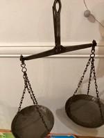 Régi antik jelzett kétkaros kétkarú piaci kofa mérleg