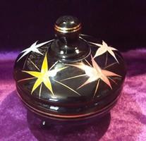 Fekete üveg szelence, bonbonier