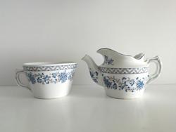 Antik, porcelán vastagfalú kávé, ill. teakiöntő, kávéházi kiöntő és csésze, bögre