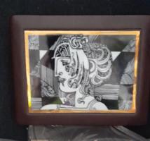 Hollóházi porcelán betétes bőr doboz (Szász Endre)