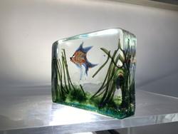 """Riccardo Licata muránói """"akvárium"""" üvegdísz 1950-es évekből Gino Cendese-től, a design kedvelőinek."""