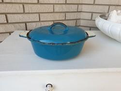 Régi vintage kék zománcos öntöttvas sütőtál lábas fedeles tál vas edény 32,5 cm dekoráció