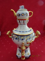 Orosz porcelán szamovár, kobalt kék és arany díszítéssel.