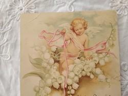Antik/szecessziós litho/litográfiás képeslap/üdvözlőlap angyal, gyöngyvirág 1900