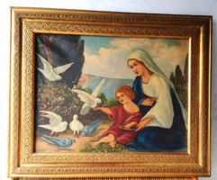 Galambokat etető  Jézus és Mária - XIX-XX.sz olaj vászon,ismeretlen művész ,szép aranyozott keret