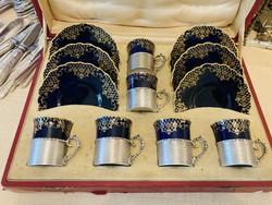 Ezüst Angol sterling 925 ös 6 db porcelán csésze aljjal Harrods London saját dobozában