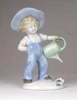 1E249 Régi Carl Scheidig Graefenthal locsoló fiú porcelán szobor 11 cm