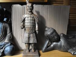 Ritka Kínai Agyag katona Nagy 52cm kő szobor Japán kerti  Kültéri Fagyálló Műkő