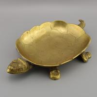 Antik bronz teknős asztaldísz, Vintage teknős középső asztal