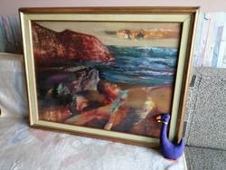 """21174A26 Vásárhelyi K. Tibor képcsarnokos tájkép festménye """"Tengerpart"""""""