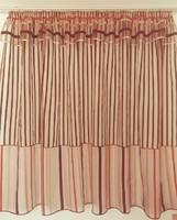 Bordó csíkos függöny rávarrt drapériával készre varrva