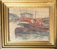 Hajó a Dunán (akvarell kerettel 35x40) - Budapest, Margit-híd, 1931, víz, folyó, hajózás