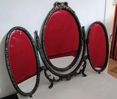 Francia vintage asztali fésülködő tükör. három részes.