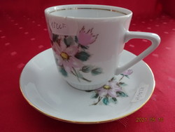 Kahla német porcelán kávéscsésze + alátét, rózsaszín virágmintával.