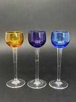 3 db 3 színű talpas üveg likőrös pohár