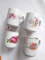 4 db régi rózsás, virágos, pipacsos bögre együtt, Zsolnay, Drasche