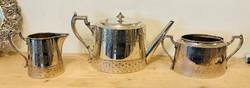 Ezüstözött Angol teás kanna cukor tartó és tejszines vésett diszitéssel