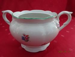 Eichwald német porcelán, antik, zöld szegélyes cukortartó.