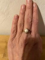 14karátos arany gyűrű modern, gyönggyel