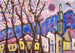 Németh Miklós (1934-2012): Házak templomtoronnyal - nagy méretű olajfestmény