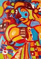 Németh Miklós (1934-2012): Szomorú bohóc - nagy méretű olaj-farost festmény