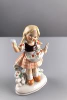 Germany porcelán kislány szobor, jelzett, számozott
