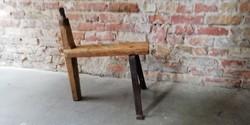 Kisszék, ülőke, régi népi szerszám, kaszaélező, fa és kovácsoltvas, 20. sz. eleje