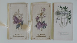 3 db antik szecessziós dombornyomott üdvözlőkártya egyben