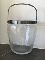Antik WMF jégtartó repesztett üvegből alpakka peremmel