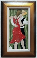 """Fehér Kornélia """"Táncosok"""" c. tűzzománc ingyenes házhoz szállítással"""