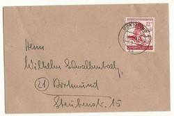 Német birodalmi 1944 levél boríték bélyegző dortmunda ritkább sasos bélyeggel ux4