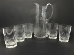 Nagy méretű biedermeier üveg kancsó 5 darab pohárral