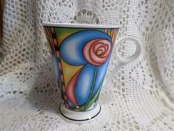 Különleges szép angol finom porcelán teás bögre.