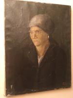 Sötét tónusú női portré Tatár szignóval .