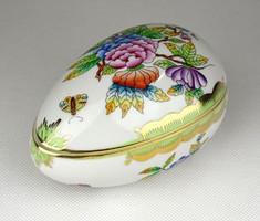 1E311 Viktória mintás Herendi tojás alakú porcelán bonbonier