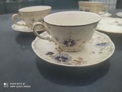 Zsolnay búza virágos kávés csészék 6db+alatett